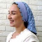 Crocheted blue scarf
