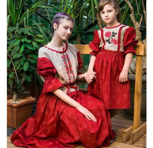 Embroidered slavic dress for girl