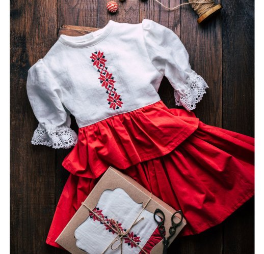 Linen Russian style dress for girl