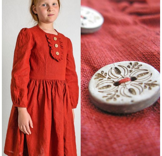 Linen slavic dress for girl