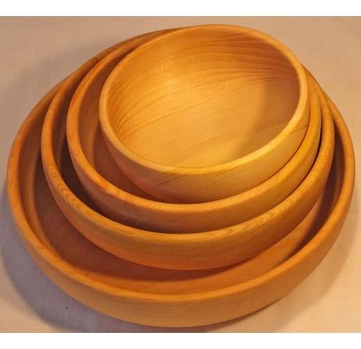Set of 4 cedar bowls (10-12-15-18 cm)