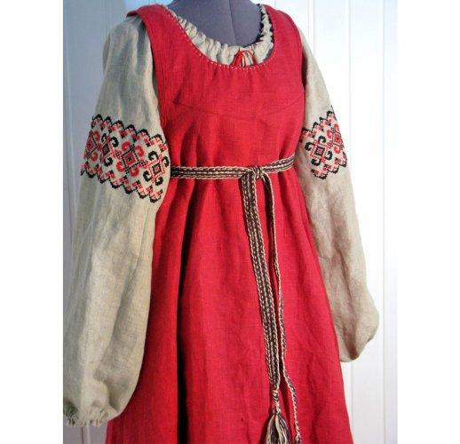 Ethnic embroidered slavic dress